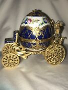 Andnbsplimoges Limited 33/450 Blue And Gold Jeweled Cinderellaand039s Carriage Trinket Boxandnbsp