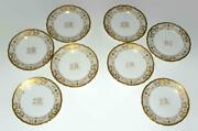Lamm Dresden China Lmq114 8 1/2 Luncheon Plate Gold Flowers And Lattice Set Of 8