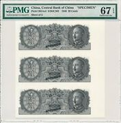Central Bank Of China China 20 Cents 1946 Specimen Pmg 67epq Uncut Sheet Of 3