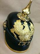 German Prussian Short Spike Chin Strap Leather Pickelhaube Helmet Without Stand