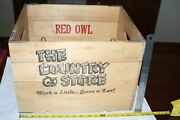 Htf Wooden Red Owl Country Store Hubbard Vintage Folding Crate Box