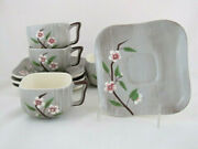 4 Weil Ware California Pottery Birchwood Cups And Saucers, Gray Gloss