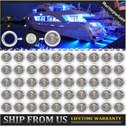 50x Blue Led Courtesy Lights Marine Boat Deck Stern Navigation Stainless Cover