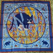Hermes Carre 90 Cave Felem Scarf Silk Blue Cat Butterfly Henry Mosaic Auth Vint