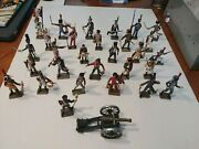 Lot Of 29 Starlux Vintage Lead Or Metal Toy Soldiers + Atlas Edition Canon