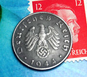 Xx-rare D-day Year 1944-b Ww2 Nazi German 10 Pf Swastika Coin And Hitler Stamp Lot