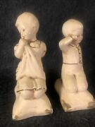 Vintage Coventry Ware Ivory Gold Chalkware Boy And Girl Figurines
