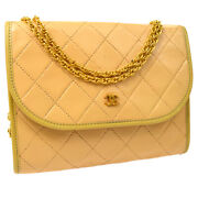 Quilted Cc Double Chain Shoulder Bag Purse Beige Leather Ak38187b