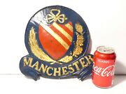 Antique Manchester Painted Tin Metal Fire Insurance Mark Wall Sign Badge 2