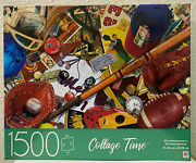 Mb 1500 Pc Jigsaw Puzzle 32x24 Collage Time Vintage Sports Equipment Football
