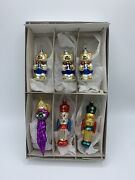 Vintage 6 Hand Blown Glass Christmas Ornaments Bears, Toy Soldiers And Angel