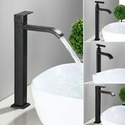 Stainless Steel Single Cold Faucet Black Paint Bathroom Basin Tap High Faucets