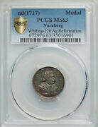 1717 Luther 200th Anniv. Of Reformation Pcgs Ms 63 Whiting 225 20mm Silver