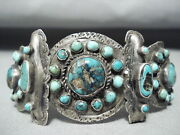 Late 1800and039s/ Early 1900and039s Vintage Navajo Turquoise Silver Bracelet