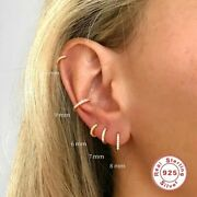 925 Sterling Silver Women Earrings Small Hoop Ear Bone Aros Tiny Nose Ring Arete