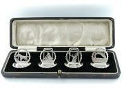 4 Boxed Silver Menu Holders Chester 1932 Card Stands Fishing Sailing Hunting