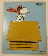 Vintage Playskool Snoopy Chasing Red Baron 8 Pc Wooden Toy Puzzle 230-2 Usa 1965