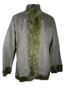 Dennis Basso Green Coat With Embroidered Accents Size Large Rare