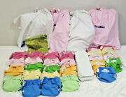 Bumgenius 27 Lot Cloth Diapers All-in-one And Original Pocket One Size +4wet Bags