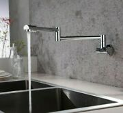 Wall Mounted Kitchen Faucets Swivel Folding Retractable Rotary Pot Filler Taps