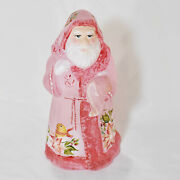 Fenton Limited Edition Santa Clause Pink Satin Hand Painted M. Kibbe 5 Of Only