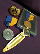 Vintage Cub Scout Medals 2, Bookmark And Scarf Clip Bsa Cub 4pc Lot