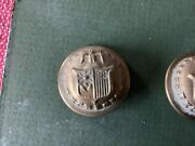 Set Of Nine Military Buttons Brass Made By Waterbury And Scovill.