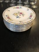 """Liling Fine China """"liling Rose"""" Yung Shen 7 1/2 Set Of 7 Salad/bread Plates 14"""