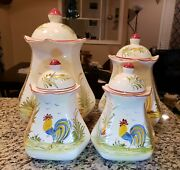 Euc Set Of Four J. Willfred Rooster Canisters Made In Portugal Cream 8-12 Rare