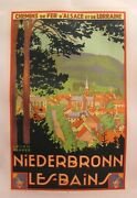 1930 Original French Travel Poster Niederbronn Les Bains Vintage Railway Art