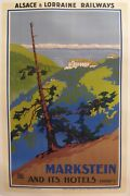 1930s Original French Travel Poster Markstein And Itand039s Hotels Railway Poster