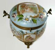 Moser Art Nouveau Hp Blue Footed Glass Powder Dresser Box With Butterfly Handles