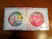 Lilly Pultizer Beautiful 2 Christmas Ball Ornaments Floral/leaves And Leopard Nib