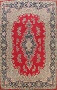 Vintage Red Floral Kirman Hand-knotted Area Rug Wool Oriental Large Carpet 10x13