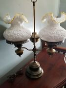 Beautiful Fenton Double Student Lamp With Milk Glass Poppy Gold Crest Shades