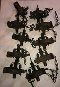 Lot Of 10 1 1/ 2 Montgomery Step In Round Jaw Coil Spring Vintage Traps Snare
