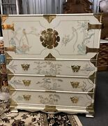 Vintage 7 Piece 80s Asian Bedroom Set White Lacquer Grand Hand Painted King A+
