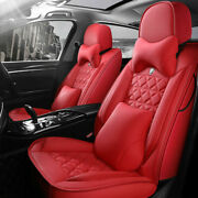 Update Red Leather 5-seats Car Suv Seat Cover Auto Accessories Interior Full Set