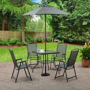 6-piece Outdoor Patio Furniture Set Dining 4 Chairs Glass Table Folding Umbrella