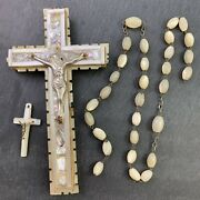 Vintage Antique Repair Lot Carved Mother Of Pearl Shell Crucifix Rosary Beads