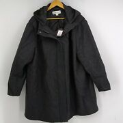 Womenand039s Ava And Viv Plus Size Gray Hooded Wool Coat