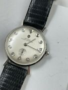 Vintage Croton Nivada Grenchen 14k White Gold And Diamond Menand039s Watch