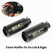 2x Universal 38-51mm Exhaust Tips Muffler Pipe Removable Silencer For Motorcycle