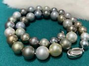 Aurora And Smooth 9-12mm Multi-color Tahitian Saltwater Pearl Necklace Japan Order