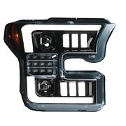 Ford F150 15-17 6k Projector Headlights Old Drl And Led In Smoked/black