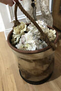 Vintage Canvas Water Bucket Bag/tool Tote Collapsible Farmhouse