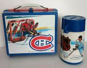 Vintage 1970s Nhl Canadians Lunch Box W Thermos Plastic Preowned Good Condition