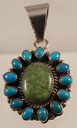 Navajo Gaspeite And Turquoise Pendant By Bea Tom