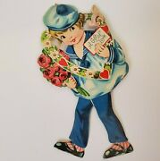 Vintage Mechanical Walking Valentine's Day Card A Gift Of Love Girl Wreath Roses