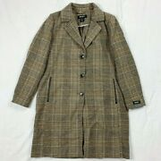 New Womenand039s Dkny Plaid Walker Coat Brown 275 Trench Jacket Wool Long 275 Xl
